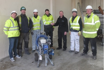 The picture shows Fraser Dodds (Atlas Mainitenance) 3rd from left shaking hands with Mick Warren (Spraytrain.com)